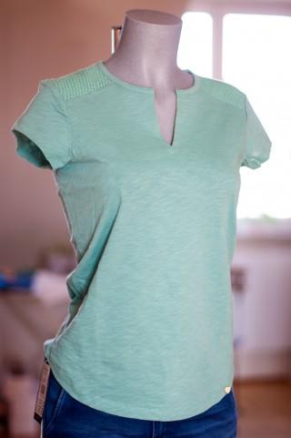 Smaragdgrünes T-Shirt mit Embroideryeinsatz