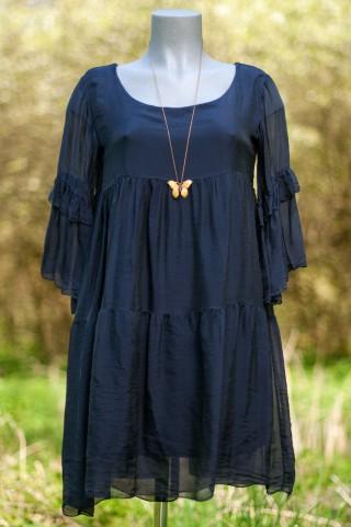 Dunkelblaues Seiden-Boheme Kleid