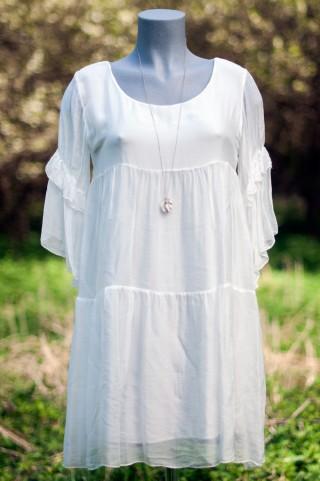 weißes Seiden- Boheme Kleid