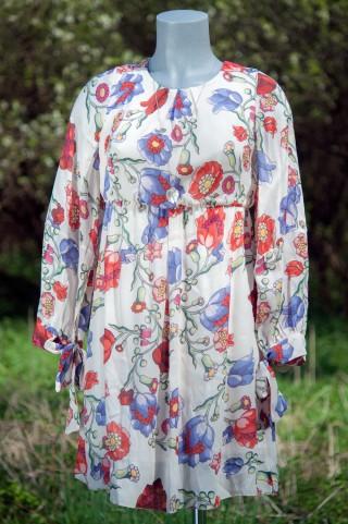buntes Empire-Kleid mit Blumenprint